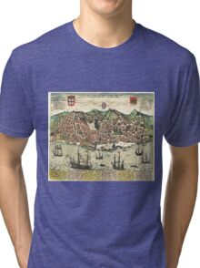 Vintage Map of Lisbon Portugal (1598) Tri-blend T-Shirt
