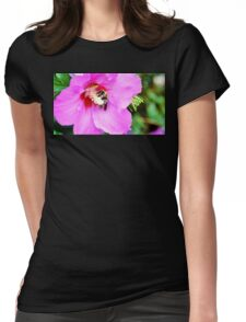 Bumble Bee Pollinating Pink Flower Womens Fitted T-Shirt
