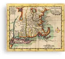 Vintage New England & Long Island Map (1703) Canvas Print