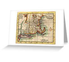 Vintage New England & Long Island Map (1703) Greeting Card