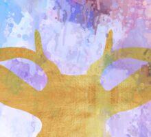 Beautiful,amazing,deer,gold color,drip paint purple shades,modern Sticker