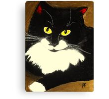 Tuxedo Cat Painting Canvas Print