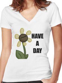 Happy Flower Women's Fitted V-Neck T-Shirt