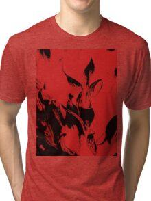 Black Flames on Red Tri-blend T-Shirt