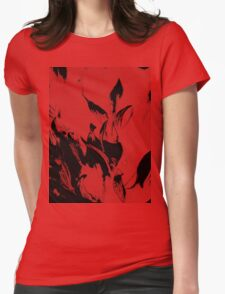 Black Flames on Red Womens Fitted T-Shirt