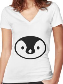 penguin cute face round character birds wild Women's Fitted V-Neck T-Shirt