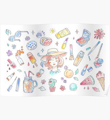 Summer Beauty - Korean Makeup K-Beauty Illustration Poster