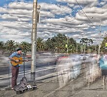 The Busker on The Bridge by JohnKarmouche