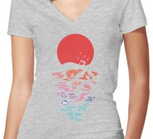 moon and fish Women's Fitted V-Neck T-Shirt