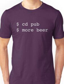 Linux Commands - cd pub more beer Unisex T-Shirt
