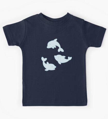 pastel blue dolphin pod Kids Tee