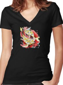 Two Yellow Koi Women's Fitted V-Neck T-Shirt