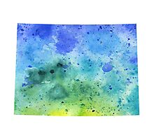 Watercolor Map of Colorado, USA in Blue and Green - Giclee Print of My Own Watercolor Painting Photographic Print