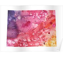 Watercolor Map of Colorado, USA in Orange, Red and Purple - Giclee Print  Poster