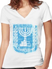 Israeli Coat of Arms Israel Symbol Women's Fitted V-Neck T-Shirt