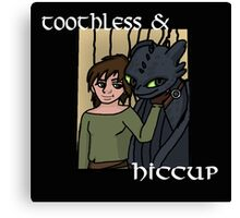 Hiccup and Toothless Black Canvas Print
