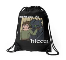 Hiccup and Toothless Black Drawstring Bag