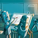 Trainbots at work greeting card by Shane McGowan