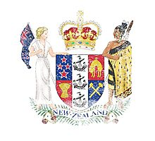 New Zealander Coat of Arms New Zealand Symbol Photographic Print