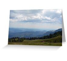 Natural background with mountains scenery and cloudy sky. Greeting Card