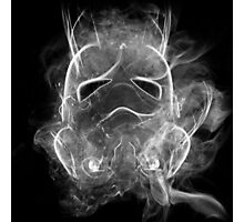 Smoke Stormtrooper Helmet - Black & White Photographic Print