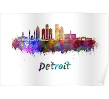 Detroit skyline in watercolor Poster