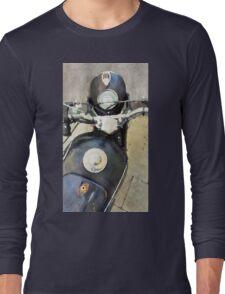 Vintage motorcycle watercolor painting Long Sleeve T-Shirt