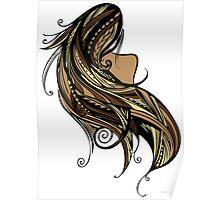 Tapa Hair - Brown/Gold Poster