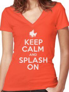 Pokemon - Keep Calm and Splash On - Magikarp Design Women's Fitted V-Neck T-Shirt