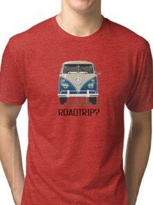 Roadtrip VW Van Travel Car Old School Vintage T shirt Inspirational Motivational Quotes Tri-blend T-Shirt