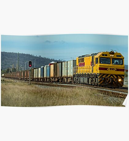 Q4013 with a freight train through Midland Poster