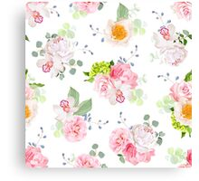 Small spring bouquets of rose, peony, camellia, orchid, carnation, hydrangea, blue berries and eucaliptis leaves Canvas Print