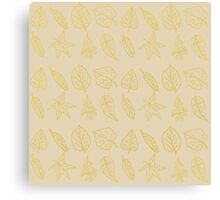 Golden Autumn Leaves Repeating Pattern Canvas Print