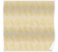 Golden Autumn Leaves Repeating Pattern Poster