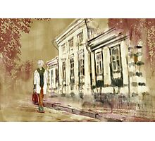 Portrait of beautiful fashionable woman walking at the old city. Photographic Print