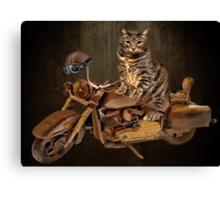 PURRING AND POSING - LONGING TO TAKE A RIDE-FELINE & MOTORCYCLE PICTURE Canvas Print