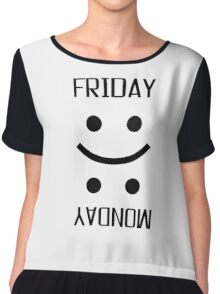 Friday Monday Weekend Smiley Face Emoji Funny Chiffon Top