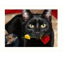 THE CAT & THE ROSE-THE ROSE HOLDING BAIT..THE MOUSE SITS HOPING IT DROPS  WHILE HE WAITS. Art Print