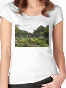 English Cottage Garden - a Blissful Space with a Riot of Flowers Women's Fitted Scoop T-Shirt