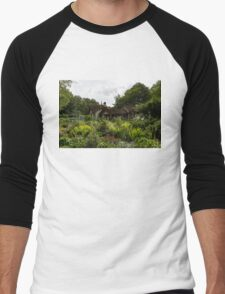 English Cottage Garden - a Blissful Space with a Riot of Flowers Men's Baseball ¾ T-Shirt