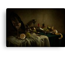 Still life with metal dishes and fruits Canvas Print