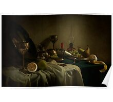 Still life with metal dishes and fruits Poster