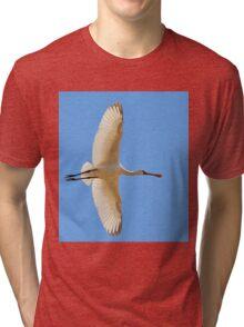 Spoonbill Stork - Flying High - African Wild Birds Tri-blend T-Shirt