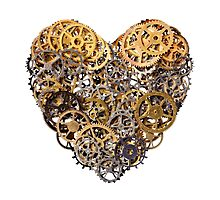 Heart shape made of metal pinions and sprockets Photographic Print