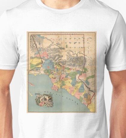 Vintage Map of Los Angeles County CA (1888) Unisex T-Shirt