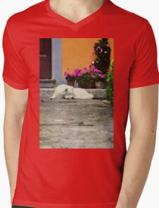 Watercolor with a dog Mens V-Neck T-Shirt