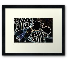 Blue Water Fish Dark Night Framed Print