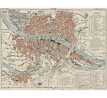 Vintage Map of Lyon France (1888) Photographic Print