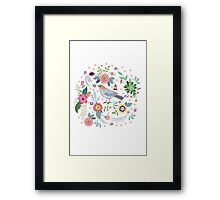 Beautiful bird in flowers Framed Print