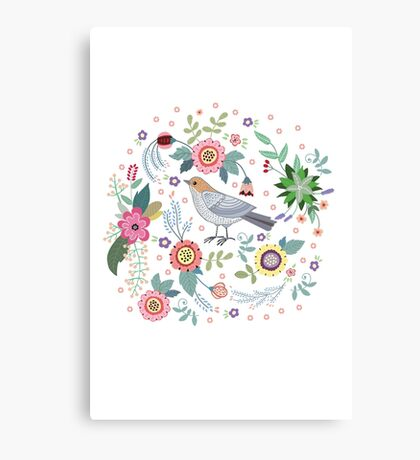 Beautiful bird in flowers Canvas Print